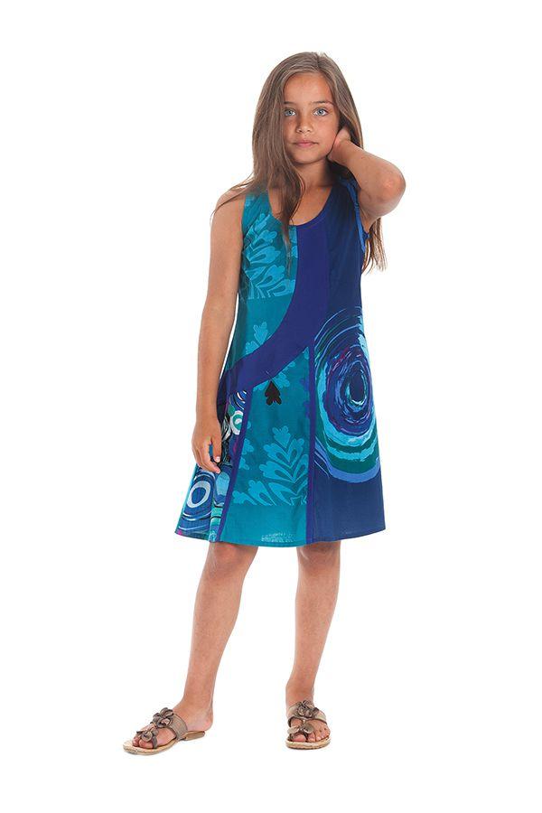 Robe Rafiki Bleu foncé pour Fille Ethnique et Originale 280545