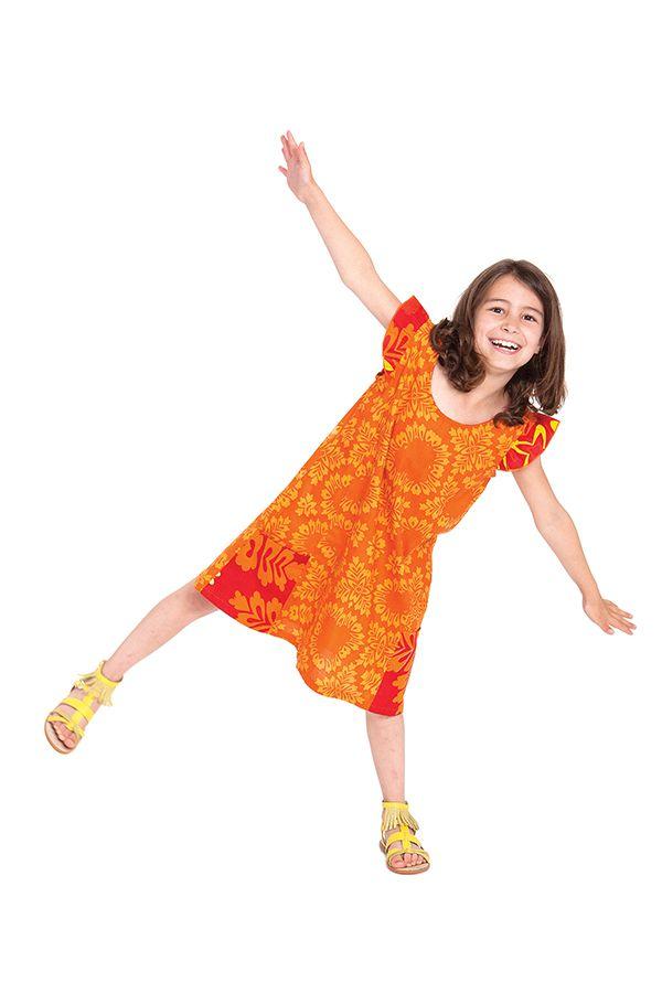 Robe Rajah pour Enfant Jaune et Orange Originale et Pas Chère 280571