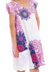 Robe Rajah pour Enfant Originale et Pas Chère Blanche et Rose 280574