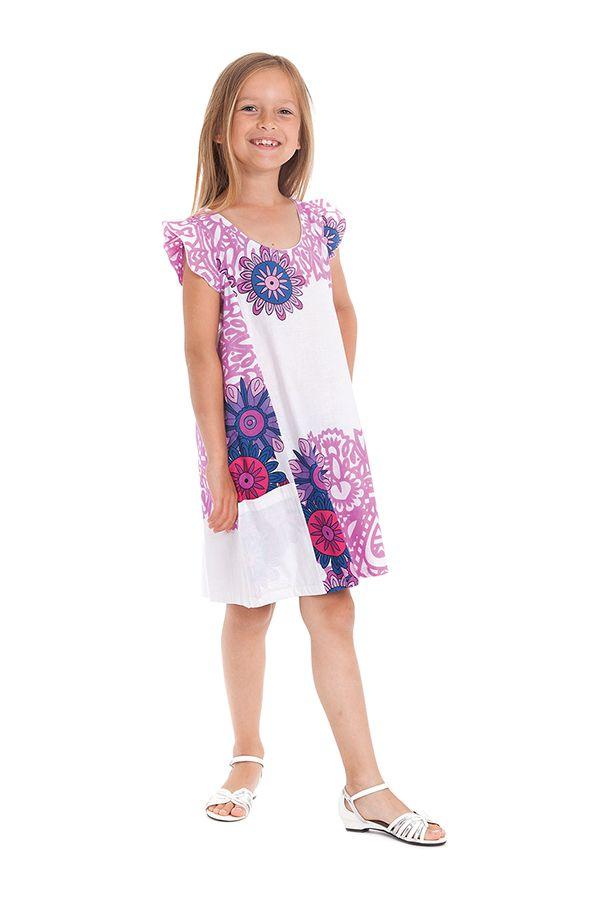 Robe Rajah pour Enfant Originale et Pas Chère Blanche et Rose 280575