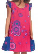 Robe Rajah pour Enfant Originale et Pas Chère Indigo et Rose 280572