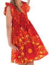 Robe rayonnante avec des motifs ethniques pour enfant rouge et jaune Nash 279905