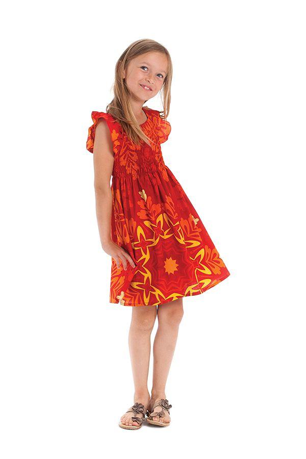 Robe rayonnante avec des motifs ethniques pour enfant rouge et jaune Nash 279906