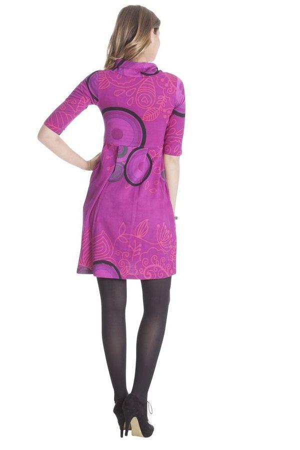Robe Rose imprimée à manches ¾ et effet col roulé Abéba 285358