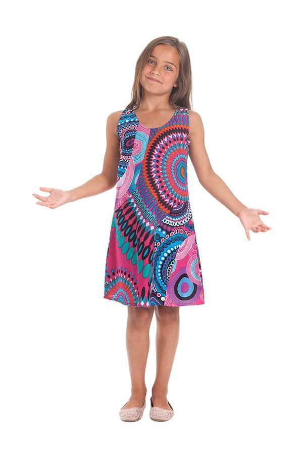 Robe Rose pour Enfant à larges bretelles très Colorée Roxy 280182