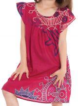 Robe Rose pour Enfant à manches courtes Ethnique et Originale Libby 279841
