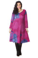 Robe Rose pour femme pulpeuse Ethnique et Colorée Ambraza. 286261