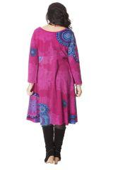 Robe Rose pour femme pulpeuse Ethnique et Colorée Ambraza 286262