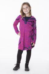 Robe rose pour fille imprimé original avec capuche Niobé 286576