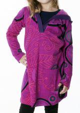 Robe rose pour fille imprimé original avec capuche Niobé 286947