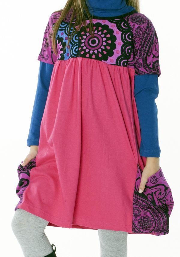 Robe rose unie avec deux poches pour enfant 287171