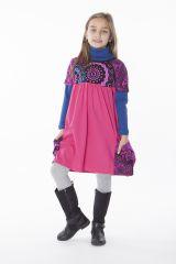 Robe rose unie avec deux poches pour enfant 287172