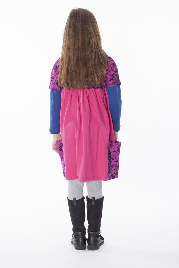 Robe rose unie avec deux poches pour enfant 287173