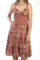 robe rouge à fines bretelles avec motifs style indien Neonila 290998