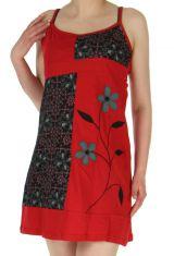 Robe Rouge à fines bretelles réglables Gaie et Ethnique Hanane 283102