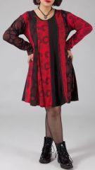 Robe rouge ample d\'hiver pour femme pulpeuse et ronde Daphnée