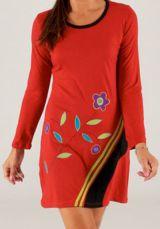 Robe rouge courte à manches longues Ethnique et Colorée Capri 279699