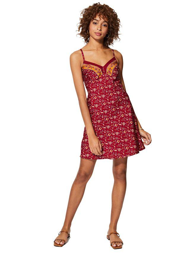 Robe rouge courte femme caraco imprimé fleurie pour l\'été bohème nuisette Sadie