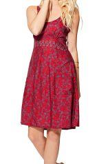 Robe rouge courte femme imprimé fleurs mode bohème Yuriko