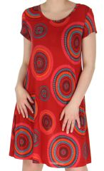 Robe Rouge d'été à manches courtes Imprimée et Légère Najki 283689