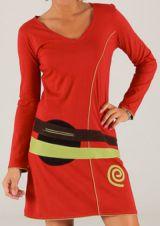 Robe rouge d'hiver à manches longues Hippie Chic Garigue 279675