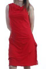 Robe rouge en coton à encolure drapée avec dreamcatcher Darcy 296415