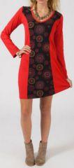 Robe rouge ethnique et originale courte pas chère Florence