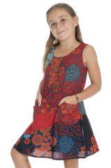 Robe Rouge évasée gaie pour enfant Originale et Ethnique Leonita 296268