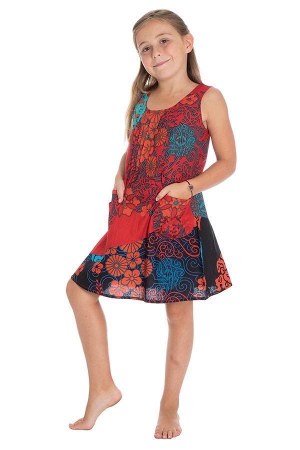 Robe Rouge Evasee Gaie Pour Enfant Originale Et Ethnique Leonita