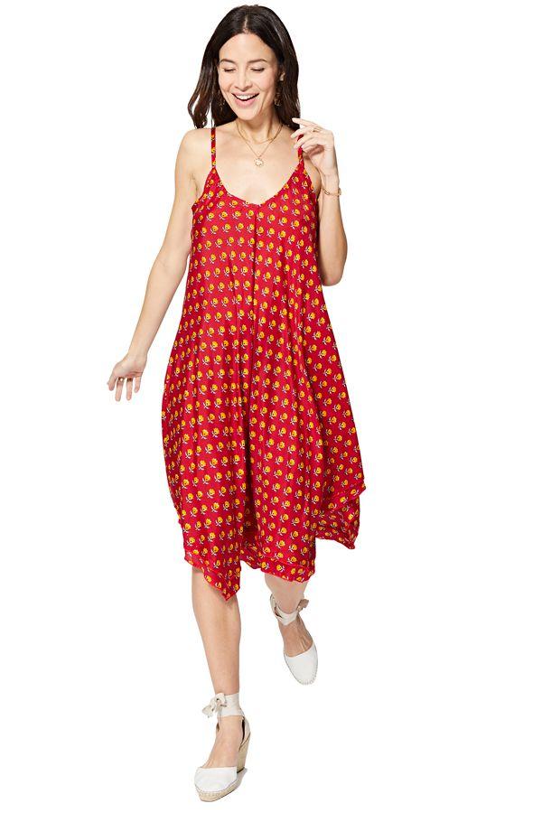 Robe rouge fluide femme bohème chic floral évasée asymétrique Runa