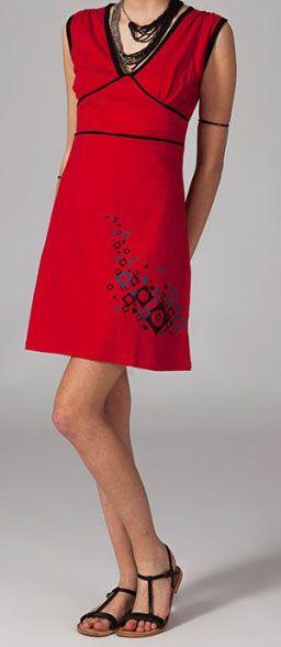 Robe rouge sans manches Sabina 269044