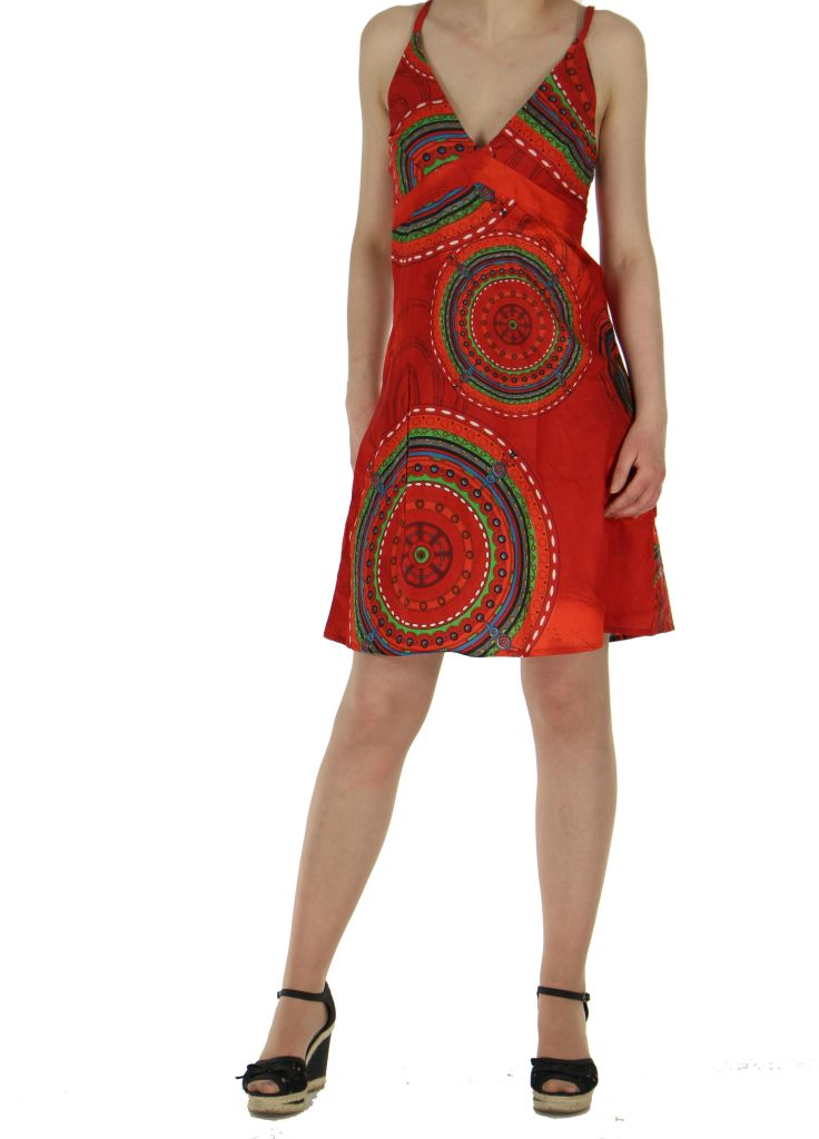 Robe rouge smockée au dos hanna 260687