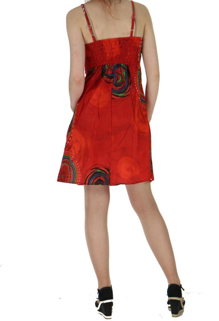 Robe rouge smockée au dos hanna 260688