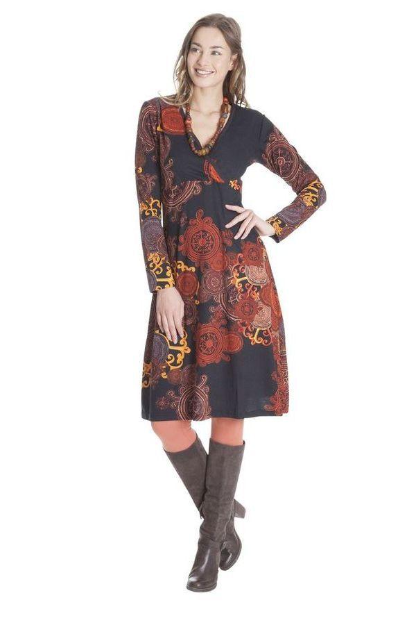 Robe Rouille à effet Cache-cœur et manches longues Ethnique Mirelle 285373