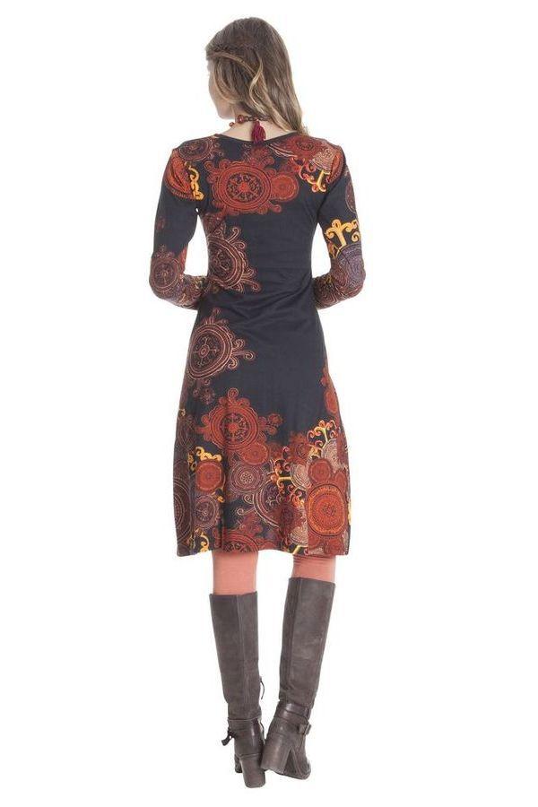 Robe Rouille à effet Cache-cœur et manches longues Ethnique Mirelle 285376