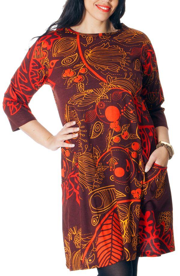 Robe Rouille Originale et Ethnique en Grande Taille Artik 286756