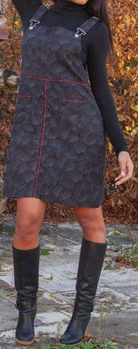 Robe salopette noire pour l\'hiver pas chère et orginale Mathilde