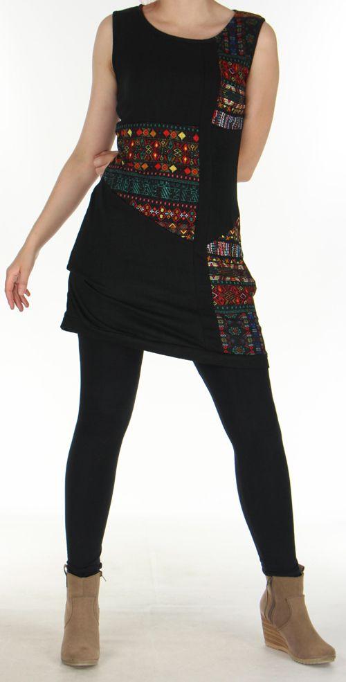 Robe sans manches en maille Originale et Colorée Tatiana Noire 276408