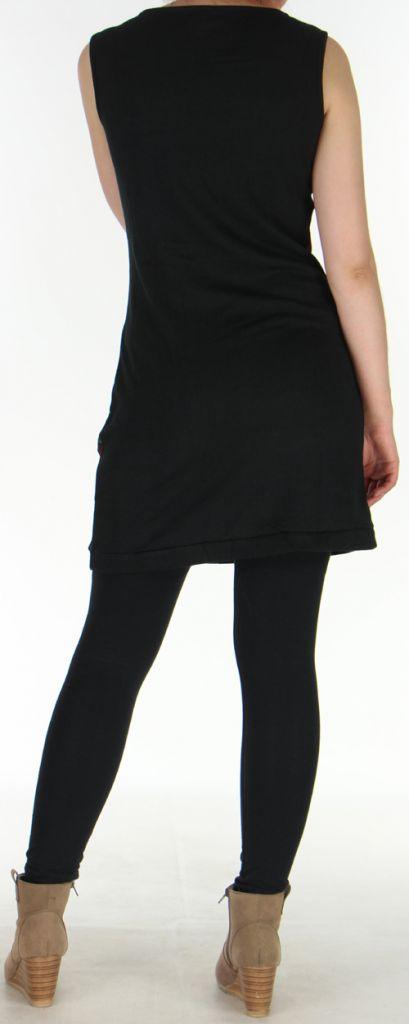 Robe sans manches en maille Originale et Colorée Tatiana Noire 276409