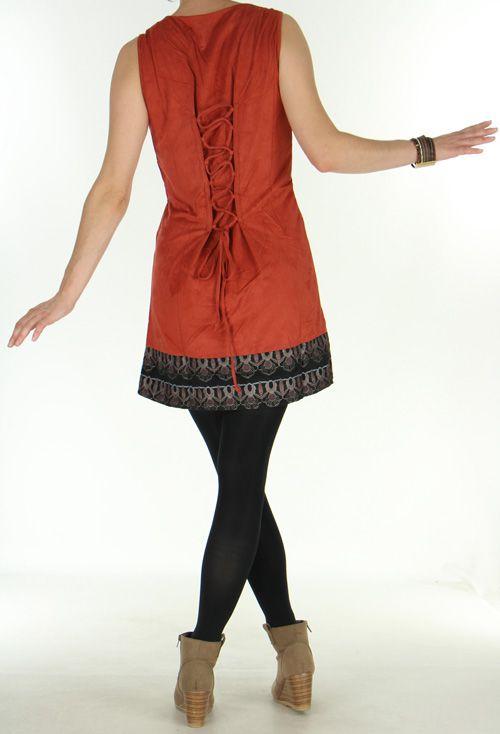 Robe sans manches et courte Ethnique et Amérindienne Natéla Rouille 275920