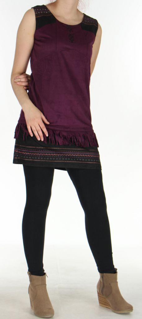 Robe sans manches et courte Très Originale et Ethnique Shayana Prune 276217