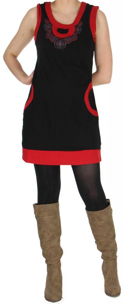Robe sans manches Ethnique et Originale Angélina Rouge 279003
