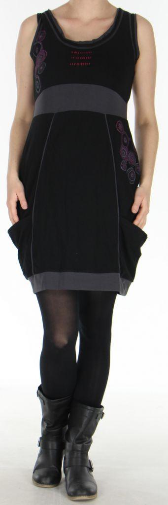 Robe sans manches forme boule Originale et Ethnique Bolza Noire 278604