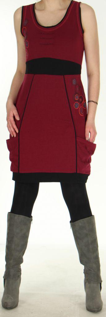 Robe sans manches Originale et Ethnique forme boule Bolza Framboise 279058