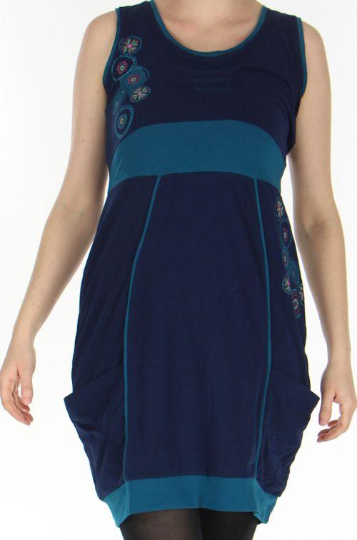 Robe sans manches Originale et Ethnique forme boule Bolza Marine 278606