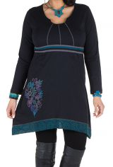 Robe size plus courte à manches longues Bleue asymétrique à col rond Harry 301667
