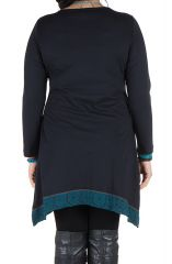 Robe size plus courte à manches longues Bleue asymétrique à col rond Harry 301668