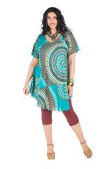 Robe size plus mi longue look rétro avec motif original coloré Priscka 296379