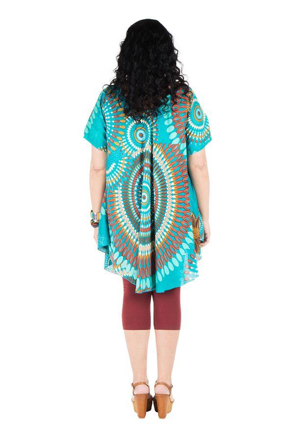 Robe size plus mi longue look rétro avec motif original coloré Priscka 296380