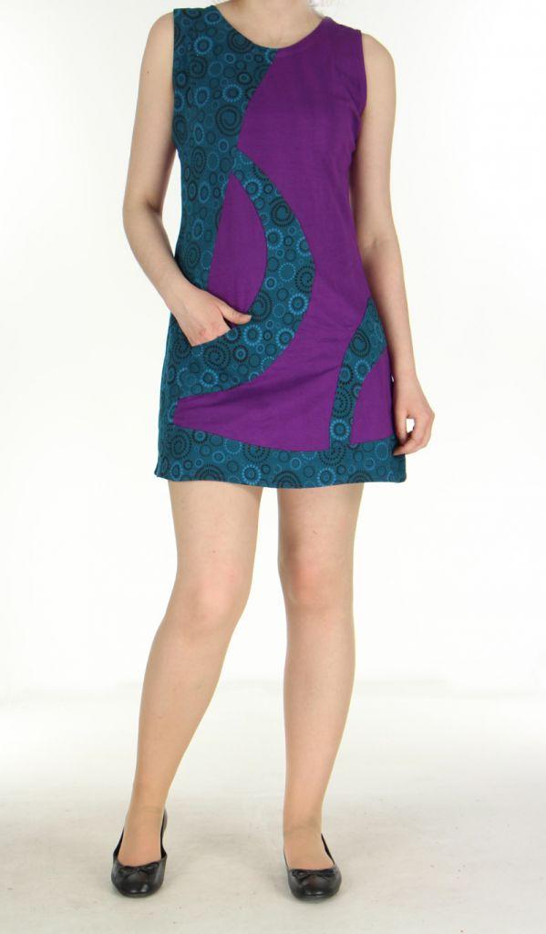 Robe spirale violette et bleue Romane 270065